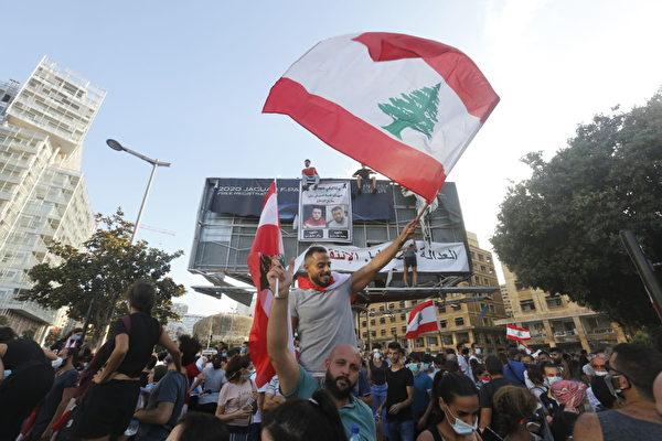 2020年8月8日,黎巴嫩貝魯特爆發反政府抗議活動。黎巴嫩首都本周發生大規模爆炸,該爆炸至少造成150人死亡,數千人受傷,並摧毀了該市的廣大地區。 (Marwan Tahtah/Getty Images)