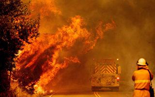 加州北部雷電引發5縣大火燒2.5萬英畝 目前未控