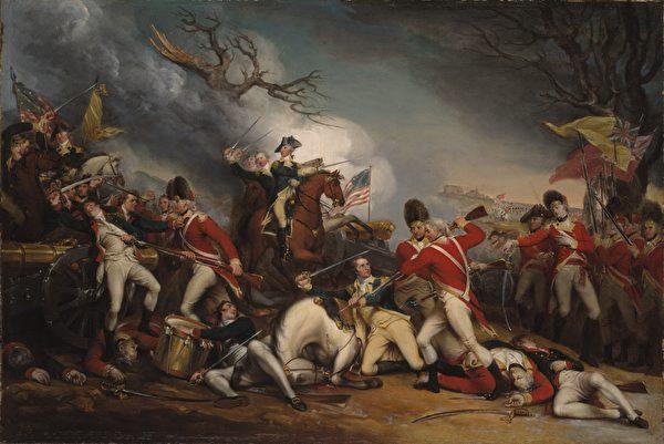 美國畫家 John Trumbull 的油畫作品《莫瑟將軍之死》。(公有領域)