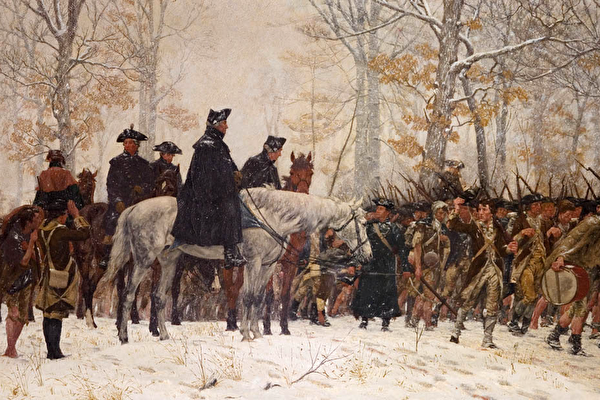 图为美国画家William Trego的油画《进军福吉谷》(The March to Valley Forge)。(公有领域)