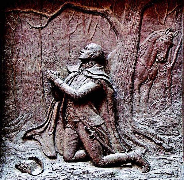图为联邦国家纪念堂中的浮雕作品《福吉谷祈祷的华盛顿将军》。(Shutterstock)