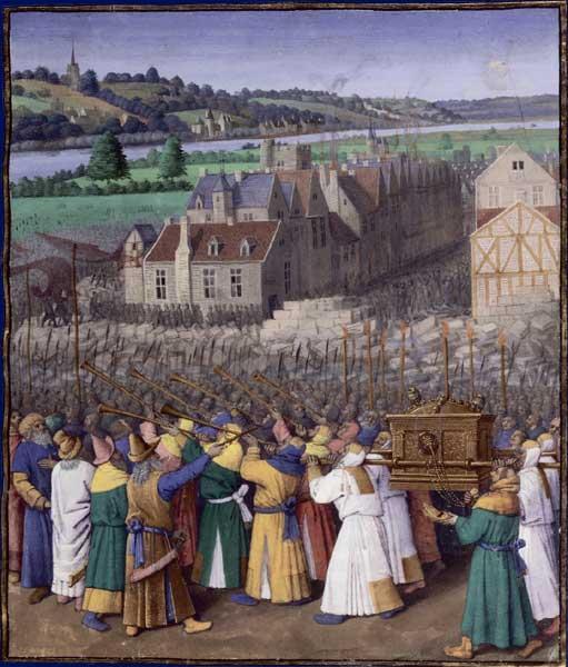 Jean Fouquet所繪的《奪取耶利哥》,約1470年~1475年間所繪。(公有領域)