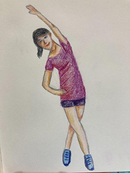 楊梅天成醫院復健科李薇醫師親自繪圖說明伸展姿勢。