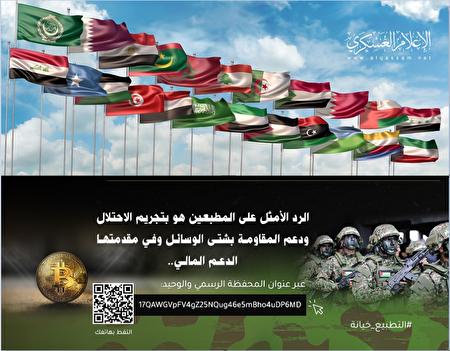 圖為哈馬斯分支卡薩姆旅(Al Qassam Brigades)通過社交媒體發出的信息,尋求比特幣為恐怖活動籌資。(美國司法部網站)