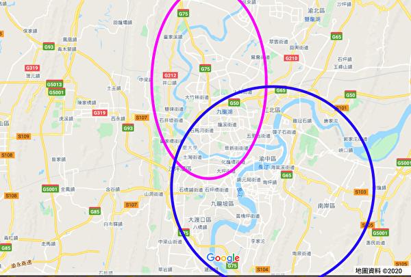 重慶主城區位於長江和嘉陵江交匯的河谷中。(谷歌地圖)