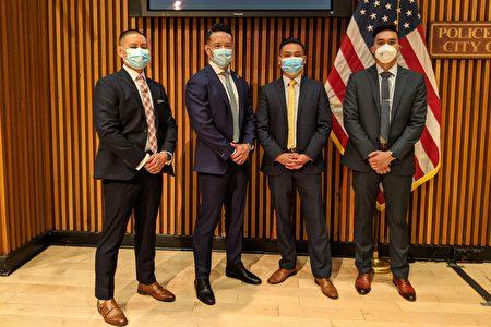 圖為「亞裔仇恨犯罪任務組」部分成員與市警局副督察盧曉士合影。左起:吳倚天、盧曉士、張棟志、Po Chock Cao。