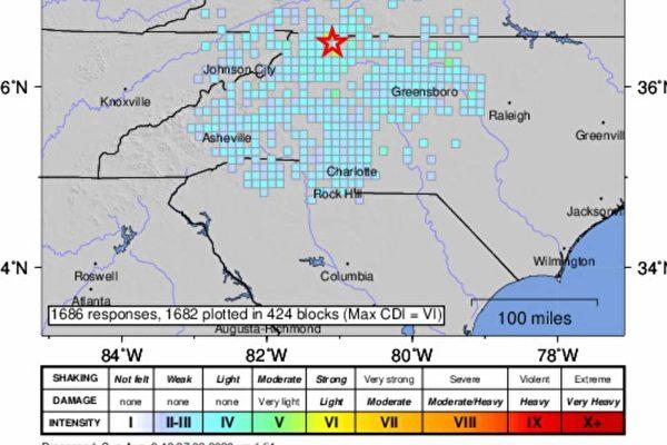 【快讯】 美国北卡州发生5.1级地震