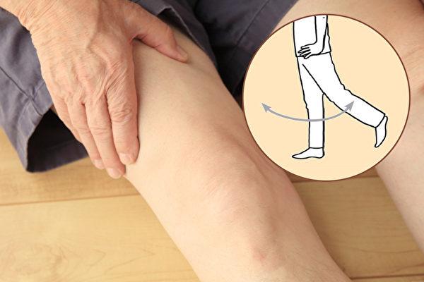 用单脚甩动的方法可以活动膝关节,改善膝盖痛。(大纪元制图)