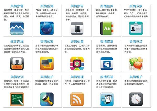 2015年河南網信辦的網絡審查系統。其中「輿情監測預警系統」不但監控輿情,還要壓制和操控民意。(大紀元)