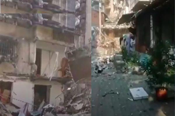 宜昌居民楼天然气爆炸致4伤 墙体被炸毁