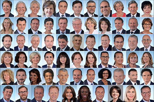由法國國會議員弗雷德里克·杜馬斯女士(Frederique Dumas)(頂行左1)發起,65位議員聯署「確保器官捐贈道德」修訂提案。(法國國民議會官網/大紀元合成)
