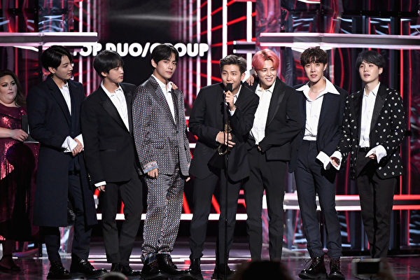 BTS accept the Top Duo/Group award onstage during the 2019 Billboard Music Awards