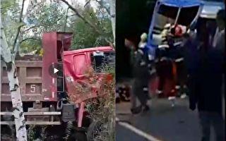 吉林靖宇县公交车与货车相撞 致2死16伤