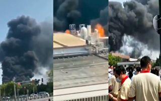 江蘇一台企工廠起火濃煙滾滾 員工緊急逃出