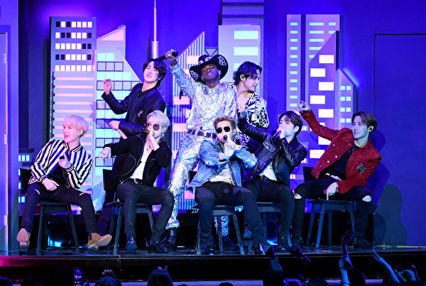 BTS perform during the 62nd Annual Grammy Awards