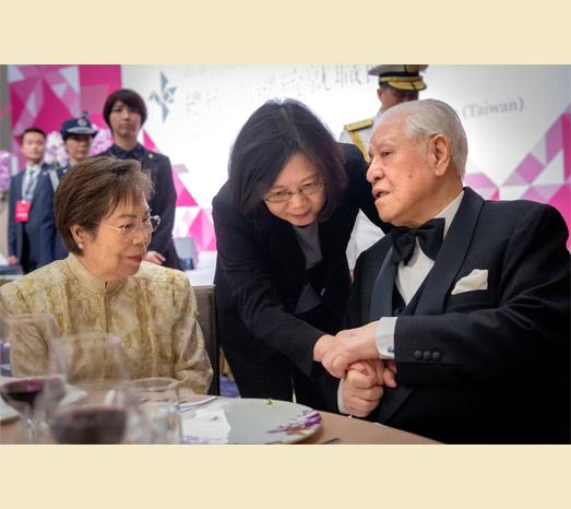 2016年5月20日中華民國前總統李登輝出席蔡英文總統就職國宴。(總統府提供)