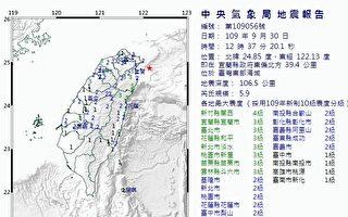 台灣東部海域地震規模5.9 北台灣有感