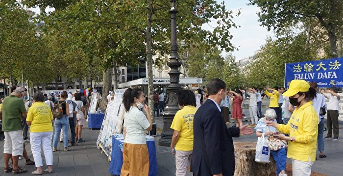 巴黎各地法輪功信息日 助人了解中共邪惡本質