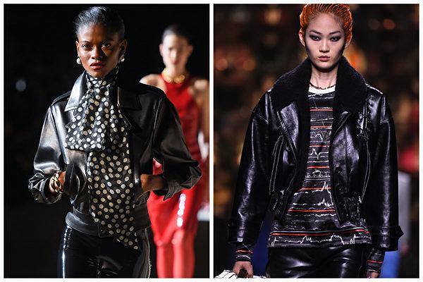 Saint Laurent(左)和Louis Vuitton(右)在2020年巴黎時尚周。(Getty Images/大紀元合成)