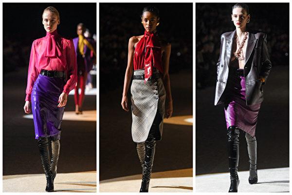 Saint Laurent 於2020年巴黎時尚周。(Getty Images/大紀元合成)