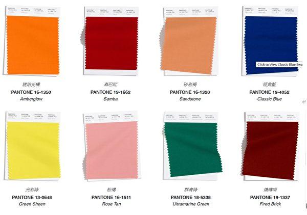 世界色彩權威彩通色彩研究所(Pantone Color Institute™)2020年潮流趨勢預測,在紐約時裝週裡皆能看到這些色彩。(圖片來源Pantone/大紀元合成)