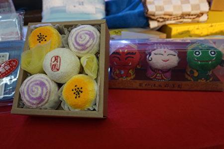 结合中秋节的月饼毛巾,看起来像真的月饼。