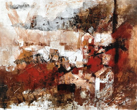 """林惠玲的""""红色的楼""""表现出浪漫独具的诗意美感。"""