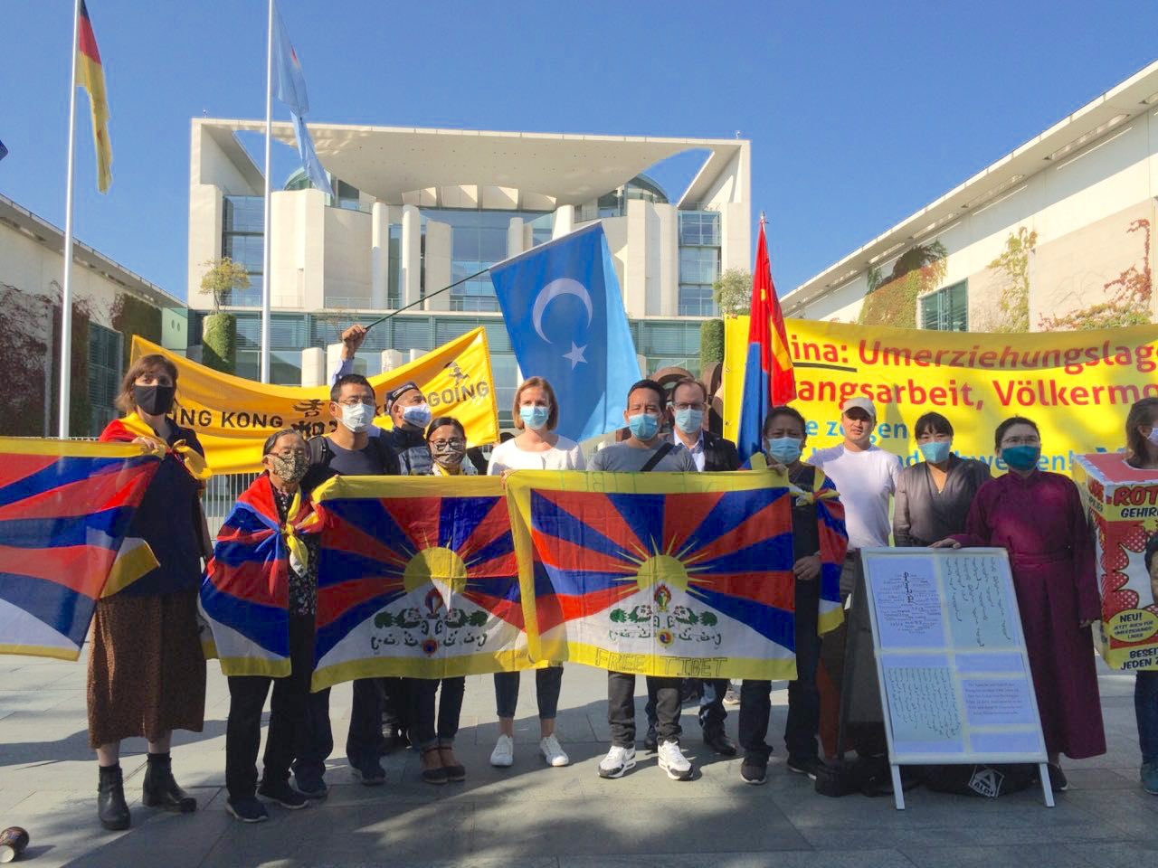 多團體德總理府抗議 籲中歐峰會納入人權議題