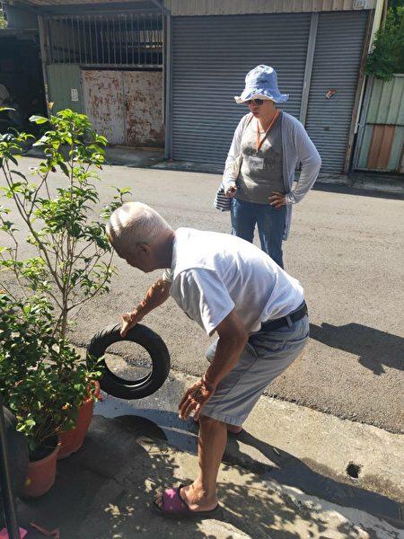 路障輪胎常見社區積水容器。