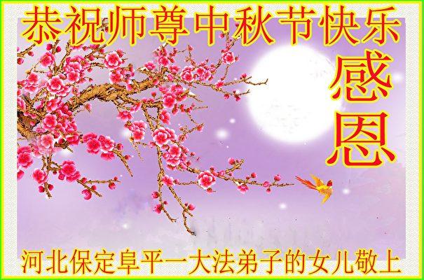 河北保定阜平一位法輪功學員的女兒向李洪志大師致賀卡、賀詞。(明慧網)
