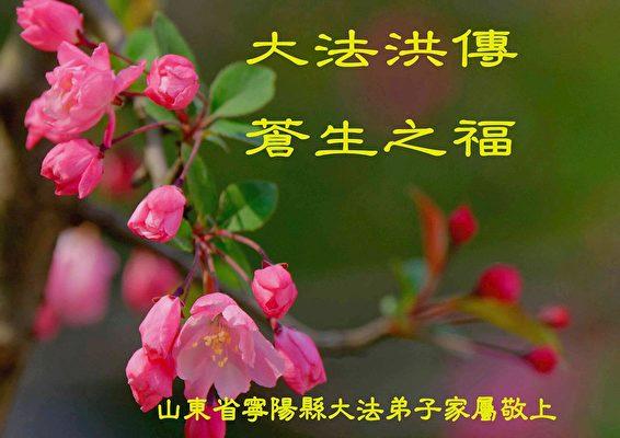 山東省寧陽縣一位法輪功學員的家屬發來的中秋賀卡、賀詞。(明慧網)