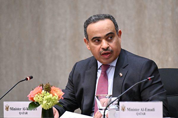 2020年9月14日,美國華盛頓特區,卡塔爾商業和工業部長阿里・本・艾哈邁德・庫瓦里(Ali bin Ahmed Al Kuwari)在第三屆美國與卡塔爾戰略對話年會上發表講話。(ERIN SCOTT/POOL/AFP via Getty Images)