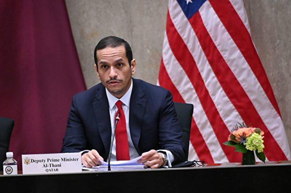 2020年9月14日,美國華盛頓特區,卡塔爾副總理穆罕默德・本・阿卜杜拉赫曼・阿勒塔尼(Mohammed bin Abdulrahman Al Thani)在第三屆美國與卡塔爾戰略對話年會上發表講話。(ERIN SCOTT/POOL/AFP via Getty Images)