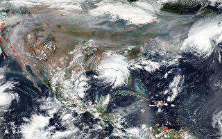 NASA卫星图片:美面临四场飓风和野火侵袭