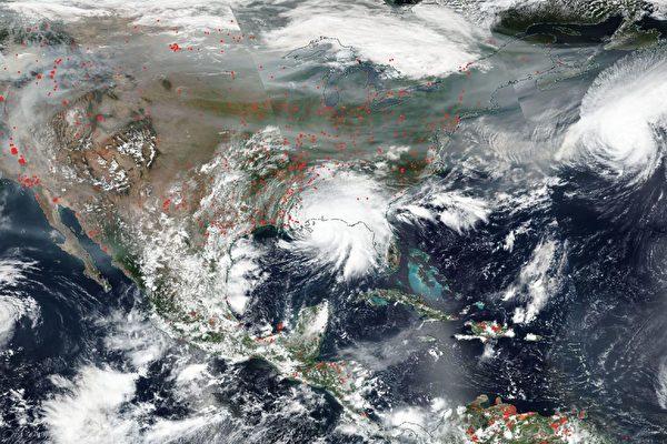 NASA衛星圖片:美面臨四場颶風和野火侵襲