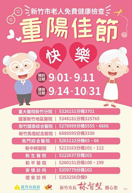 新竹市65歲以上長者免費健康檢查服務,今年與10家醫療院所合作。