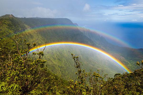瀑布, 月虹, 双彩虹, 彩虹