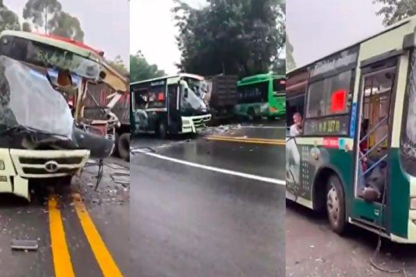 【视频】四川公交车与货车相撞 24人受伤