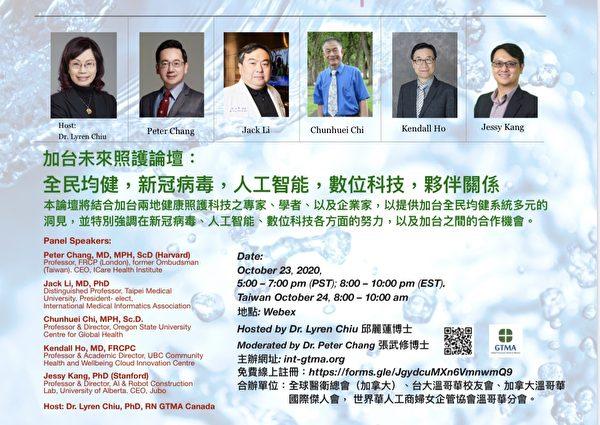 全球醫衞總會舉辦的線上講座海報:《加台未來照護論壇:全民均健,新冠病毒,人工智能,數位科技,夥伴關係》