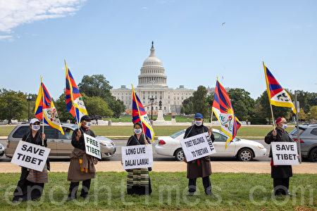 藏人抗議中共暴政。(林樂予/大紀元)