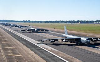 美B-52轰炸机执行奔袭中东任务