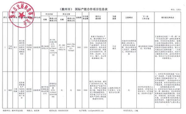 (滁州市)國際產能合作項目信息表 (大紀元)
