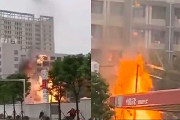 【视频】武昌天然气泄漏起火 旁边是加油站