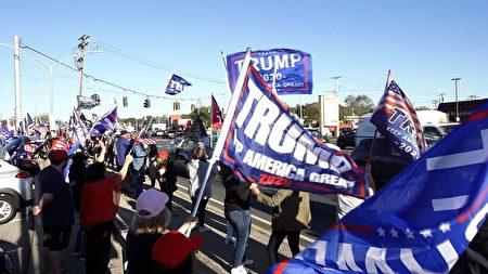 10月8日,長島居民在當地舉辦支持川普連任的遊行集會。