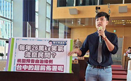 議員羅廷瑋要求臺中市府應比照桃園制定自治條例,將笑氣列為管制毒品、禁止使用。