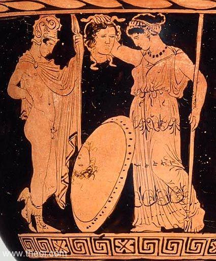恐惧, 珀尔修斯, 荷米斯, 雅典娜, 盾牌