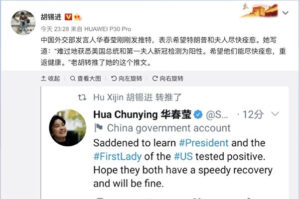 胡錫進微博轉發華春瑩談川普的推文 眾人狂轟