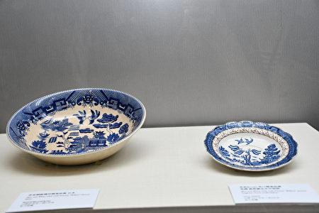 展出文物,柳叶纹盘碟,来源:右英国、左日本。