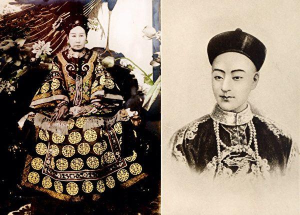 清朝的慈禧太后和光緒皇帝。(公有領域)