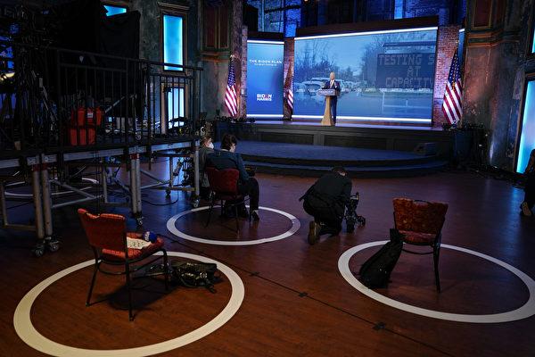 10月23日,民主黨總統候選人喬•拜登(Joe Biden)在特拉華州威爾明頓的女王劇院進行競選造勢活動。(Drew Angerer/Getty Images)